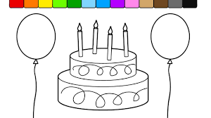 learn colors for kids and color this birthday cake balloon