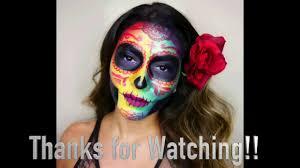Halloween Skull Makeup Tutorial Colorful Sugar Skull Makeup Tutorial Dia De Los Muertos Halloween