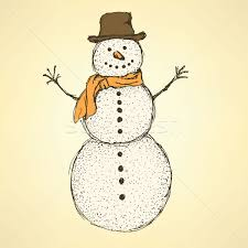 sketch christmas snowman in vintage style vector illustration