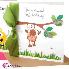 children u0027s personalised monkey jungle invitations for children u0027s