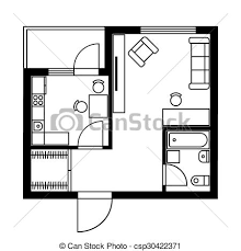 vectors illustration of floor plan of a house with furniture