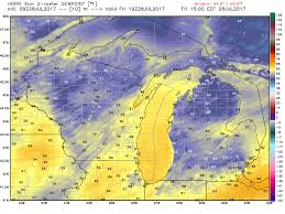 Us Dewpoint Map Michigan Weather Today Refreshing Northeast Breeze To Develop