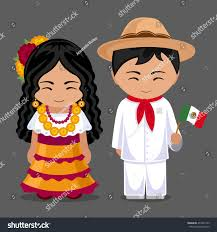 Mexicans Flags Mexicans National Dress Flag Man Woman Stock Vector 451861555