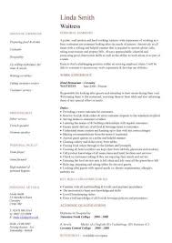 Examples Of Server Resumes Sample Of Waitress Resume 11 Examples Cocktail Server Resumes