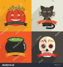set halloween decorations pumpkin black cat stock vector 211967407