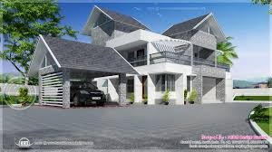 European Style Houses Modern Sloping Roof Luxury House Kerala Home Design Floor Plans