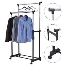 double rail adjustable garment rack clothes hanger closet