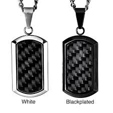 tag necklace mens images Crucible black plated steel men 39 s black carbon fiber inlay dog tag jpg
