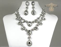 vintage style necklace images Wedding jewelry set crystal bridal statement necklace earrings jpg