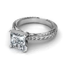 verlobungsring solitã r engraved milgrain princess cut solitaire engagement ring