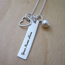 Necklace With Name Heart Charm Rectangle Necklace With Name