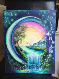 Unique Painting   unique painting idea a world in an orb with rainbow waterfall
