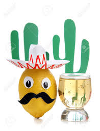 cartoon tequila tequila glass and mexican toys of vegetables stock photo picture