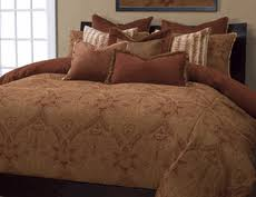 5 Piece Duvet Set Rust Brocade Bedding Collection