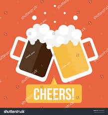 beer cheers cartoon flat design illustration couple glasses beer stock vector