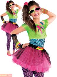 childs 80s costume totally awesome teen neon disco retro