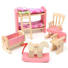 wooden dolls house furniture pretend play miniature kitchen bed