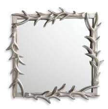new antler mirror rustic silver wall mount 14x14 lodge deer