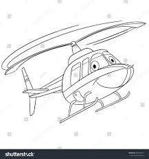 coloring page helicopter cartoon flying transport stock vector