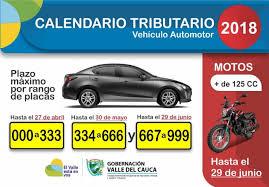 impuestos vehiculos valle 2016 listo calendario de pagos del impuesto automotor 2018 en el valle