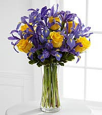 Vase With Irises Iris And Roses Ftd Flowers Roses Plants And Gift Baskets