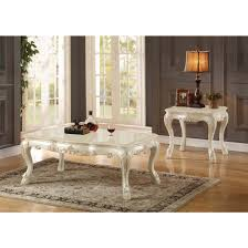 Acme Furniture Dining Room Set Acme Chantelle Coffee Table In Pearl Finish And Marble Top Ac