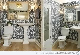 black and white wallpaper in 15 bathrooms and powder rooms home