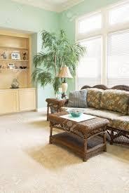home interior with a tropical beach look wicker furniture bowls