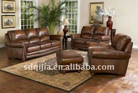 genuine leather sofa set worn faded leather livingroom furniture antique american style