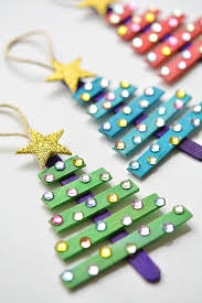 glittering popsicle stick trees made with sticker