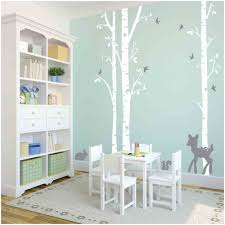 Dining Room Decals Owl Hills 3 Birch Trees Wall Stickers White With Grey Fawn Bunny