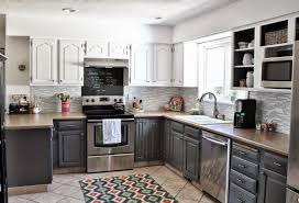 kitchen with two color cabinets kitchen decoration