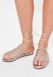 silver knotted ankle tie flat sandals missguided