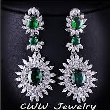 big diamond earrings cwwzircons brand silver color cubic zirconia big