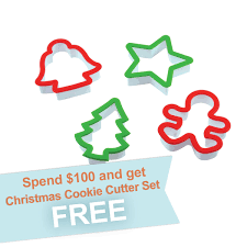 4 piece christmas cookie cutter set