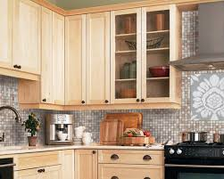Light Maple Kitchen Cabinets Cabinets Adorn Pendant Beige Mosaic Backsplash At Traditional