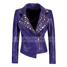 cheap biker jackets womens purple leather jacket ladies rivet studded biker jacket