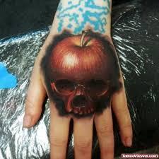 rotten apple tattoo on left hand tattoo viewer com