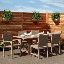 Teak Outdoor Dining Table And Chairs Matalinda Expandable Rectangular Teak Outdoor Table Set Outdoor