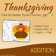 thanksgiving math addition worksheets facts within 20 and 2 digits