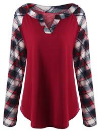plus size raglan sleeve plaid top in red 5xl sammydress com