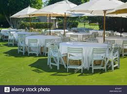 outside party tables and chairs outside outdoors before garden party event usa