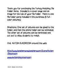 thanksgiving activities free turkey matching file folder tpt