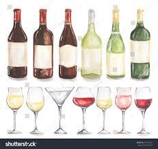 Beautiful Wine Glasses Watercolor Wine Bottles Glasses Set Beautiful Stock Illustration