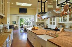 free standing range hood kitchen modern with yellow open space