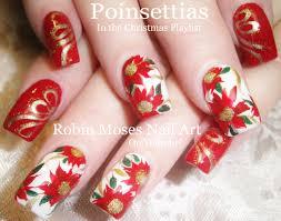 nail art tutorial diy red christmas flower nail design robin