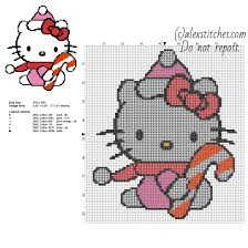 christmas hello kitty with candy free cross stitch pattern 77 x 91
