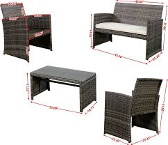 Wicker Outdoor Patio Set by 4pc Gray Rattan Wicker Outdoor Patio Furniture Set