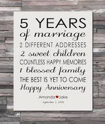 five year wedding anniversary gift anniversary gift print 5 year wedding 5th anniversary