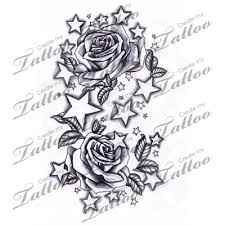 marketplace tattoo stars and roses 12338 createmytattoo com